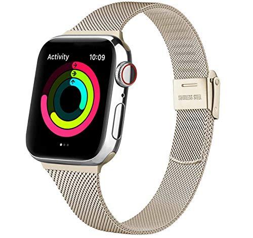 Acciaio Cinturino per Apple Watch Cinturino 38mm 40mm 42mm 44mm, Metallo Sottile Cinturini Compatibile con Apple Watch iWatch Series 6 5 4 3 2 1 SE, con Strumenti (Argento 38/40MM)