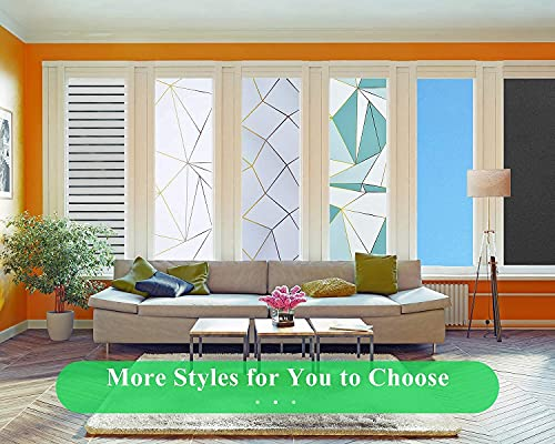 Coavas Privacy Window Film Sun UV Blocking Frosted Static Clings Non Adhesive Opaque Vinyl Decorative Glass Door Stickers Heat Control Coverings for Bathroom, Matter Pure 17.5 x 78.7 Inch