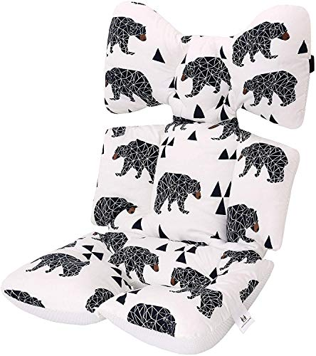 Premewish Baby Stroller Liner 38 x 70 cm Pushchair Pad 3D Air Mesh Cotton Breathable Baby Cushion Pad for Universal Baby Stroller, Buggy, Pram, Pushchair and Car Seat (Black Bear)