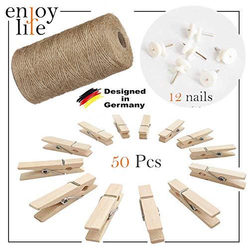 Enjoy Life Jute Kordel Schnur 10m, 50 Stück Mini-Holzwäscheklammer 3,5 cm und 12 Non-Trace Nägel - Dekoration für Wohnzimmer, Bar, Cafe, Weihnachten, Hochzeiten, Party, Clip String Photos