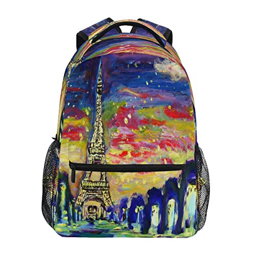 XIXIKO - Mochila de pintura artística de París, Torre Eiffel, mochila de viaje al aire libre, para mujeres, hombres, muchacho, deporte, gimnasio, senderismo, camping, mochila