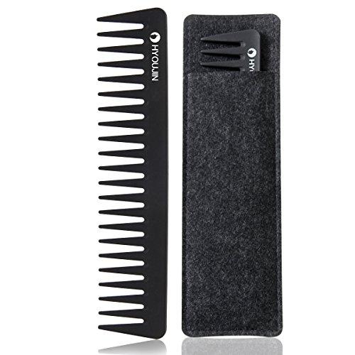 HYOUJIN 601 Black Carbon Wide Tooth Comb Detangling Comb Detangler Hair Comb for Long Wet hair Hair Straighten Curly Hair 230℃ Heat Resistan