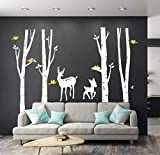 LUCKKYY Large Birch Tree Deer Wall Decal Forest Birch Trees Birch Trees Vinyl Kids Vinyl Sticker Vinyl Wall Decal Family Room Art Decoration (White)
