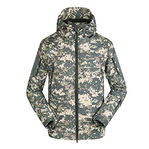 Sentao Homme Tactique Camouflage Veste Softshell Automne Hiver Doublée Blouson Imperméable Capuche Randonnée Chasse Manteau (Style#1, Asia M)