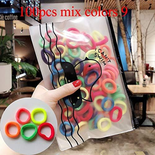 JSZWGC 50 / 100pcs / Set Filles colorés en Nylon Petit Bandeaux élastiques Enfants Porte-Queue de Cheval Elastiques Serre-tête Enfants Accessoires Cheveux (Color : 100pcs Mix Colors 9)