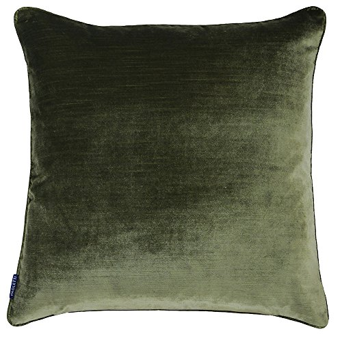 Riva Paoletti Luxe Velvet Cushion Cover - Olive Green - Soft Velvet Feel Fabric - Reversible - Hidden Zip Closure - Machine Washable - 100% Polyester - 55 x 55cm (22' x 22' inches)