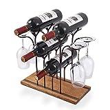 Tabletop Wood Wine Holder, Countertop Wine Rack, Hold 4 Wine Bottles and 4...