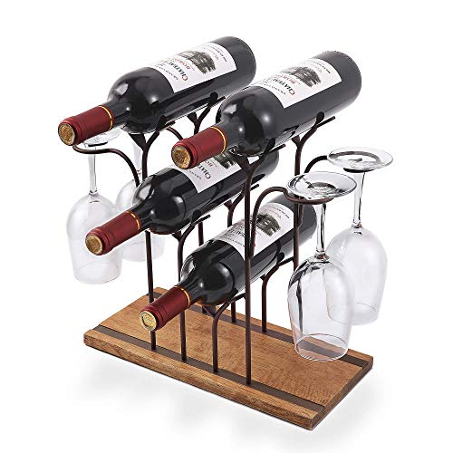 Tabletop Wood Wine Holder, Countertop Wine Rack, Hold 4 Wine Bottles and 4 Glasses, Perfect for Home Decor & Kitchen Storage Rack, Bar, Wine Cellar, Cabinet, Pantry, etc, Wood & Metal (Bronze)