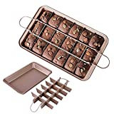 Milky House Non Stick Brownie Pans with Dividers, Divided Brownie Baking Pan, Slice Solutions Brownie Pan, Baking Pan with Built-in Slicer, 12 by 8 inches