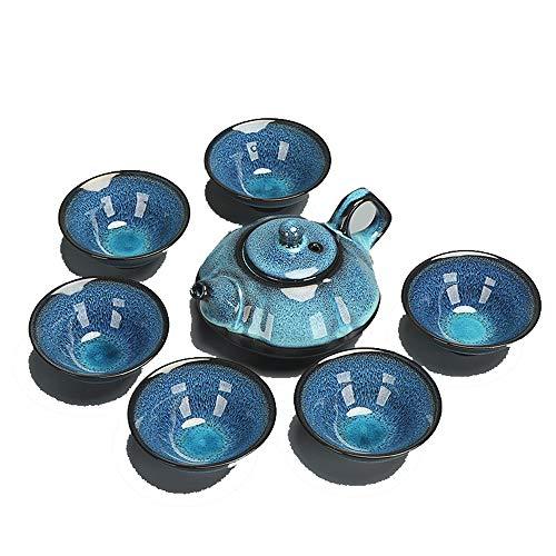 KNDJSPR Set da tè in Porcellana Giapponese Kung Fu, Porcellana a Cera lucidata con Mulino ad Acqua, Regalo per Adulti Uomo Donna Cerimonia del tè Collezione Home Decor per Ufficio, Utensili da Cucina