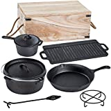 Varilando 6-teiliges Kochset aus Gusseisen in Einer Aufbewahrungsbox Pfanne Topf Grillplatte Stiel-Kasserole