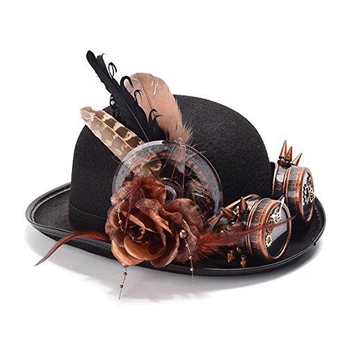 HongGXD De Moda con Flores Mujeres Steampunk Negro Bolwer Sombrero Plu