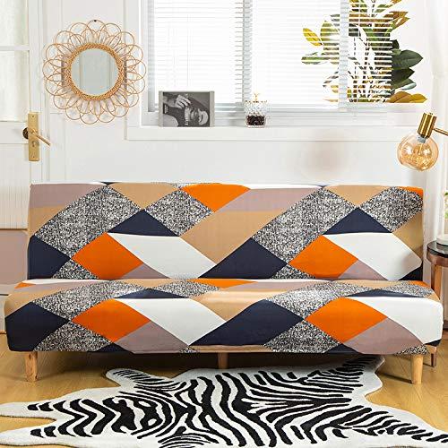 Mingfuxin, copridivano senza braccioli in poliestere e elastam, protezione per divano a 3 posti, elastico, pieghevole, adatto per divano letto pieghevole senza braccioli (stampato #2822)