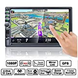 Autoradio GPS Navigation, HALUM Wince 7'' 1080P Touchscreen 2 DIN, Mirrorlink/Bluetooth Freisprecheinrichtung/7 LED Beleuchtungsfarbe/RDS, mit Fernbedienung/Rückkamera/8G TF Karte