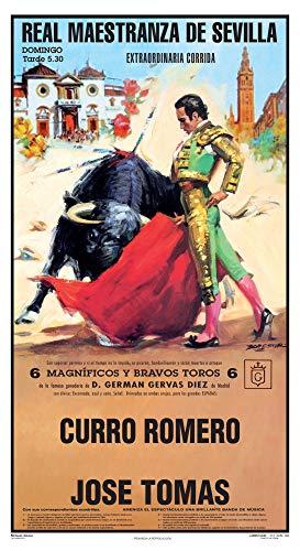 Cartel de toros - Personalizado 24 Carácteres - Real Maestranza de Sevilla - Extraordinaria Corrida - Curro Romero - José Tomás