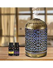 infinitoo 260ml Essential Oil Diffuser, Humidifier Aromatherapy Diffuser, Auto Shut-Off Cool Mist Humidifier with Lavender and Lemon Essential Oils for Baby Room, Home,Yoga, SPA, Office