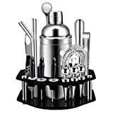 Cocktail Set,Set da 19 Pezzi per Cocktail con Espositore Girevole Ottagonale,Kit Bartendin...