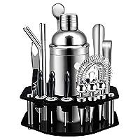 cocktail set,set da 19 pezzi per cocktail con espositore girevole ottagonale,kit bartending premium in acciaio inossidabile ss304 per casa, bar, festa, perfettascelta regalo