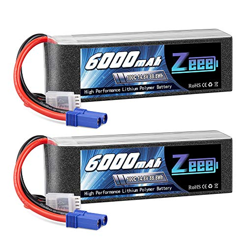 Zeee 4S Lipo Battery 6000mAh 14.8V 100C with EC5 Plug Soft Case for RC Plane Quadcopter Airplane Helicopter RC Car Truck RC Boat (2 Pack)