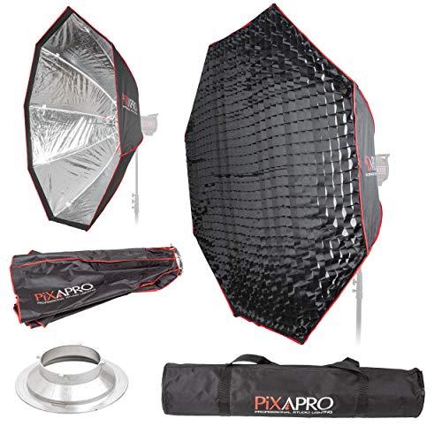 PIXAPRO 150 cm Studio-Stroboskop-Blitzschirm, achteckig, leicht zu öffnender Softbox, Multiblitz (P), mit Wabengitter, weich, sanft, diffuses Licht, tragbarer Standort (150 cm, Fassung- Multiblitz (P))