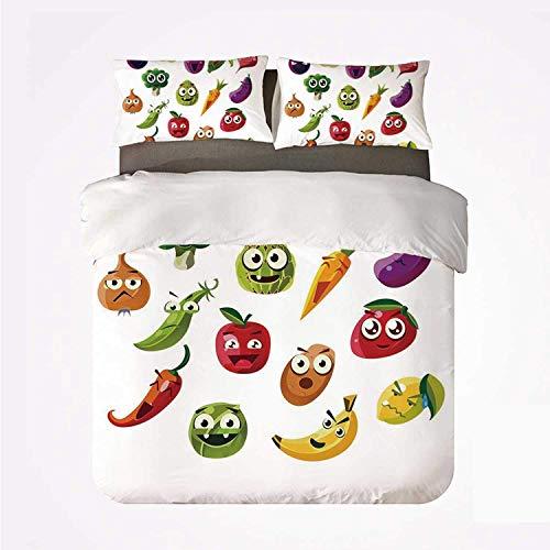 Set copripiumino Emoji Vari set da 3 pezzi, frutta e verdura Carota Banana Pepe Cipolla Aglio Cibo Stile cartoon Simboli per la casa