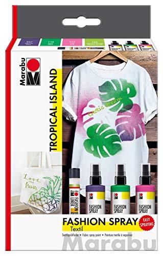 Marabu 1719000000085 - Fashion Spray, Tropical Island, Textilsprühfarbe auf Wasserbasis, für helle Textilien, einfache Fixierung, waschbeständig bis 40°C, 3 x 100 ml Farbe und 25 ml Fashion Liner