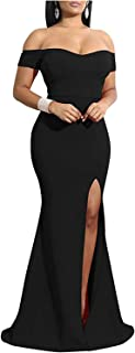 Sponsored Ad - JTNFairy Womens Off-Shoulder Long Maxi Formal Party Dress Strapless Casual Side Split Teen Dresses