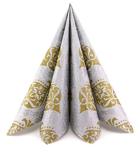 100 Stück (0,20€/Stück) Papierservietten Silber/Gold große Dinner Servietten 40 x 40 cm Tissue Papier 3-lagig Tischdeko Weihnachten Advent Hochzeit Dekoration