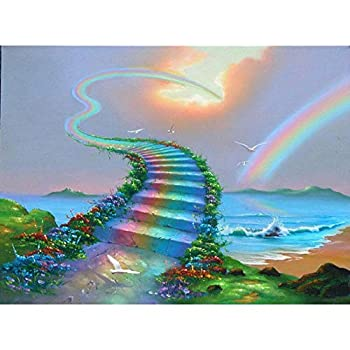 LZMAXY DIY 5D Diamond Painting Rainbow Bridge Kit Rhinestone Embroidery Full Round Drill Painting Arts Craft Adults and Kids Kit for Home Wall Decor 30X40CM