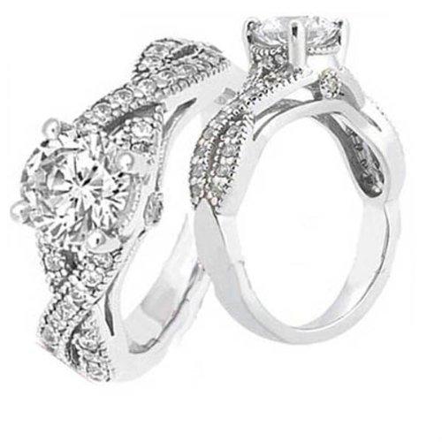DazzlingRock Anillo de compromiso solitario de oro blanco de 14 K con diamantes redondos con detalles para mujer, 1/2 quilate (0,50 quilates, color H-I, claridad I1-I2)
