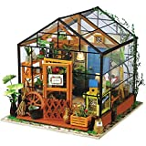 (Cathy's Flower House) - ROBOTIME DIY Dollhouse Wooden Miniature Furniture Kit Mini Green House with...