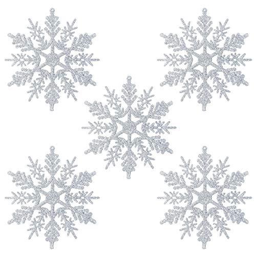 Naler 24 x Schneeflocken Weihnachten Deko für Weihnachtsbaum Glitzer Weihnachtsbaumschmuck, Silber