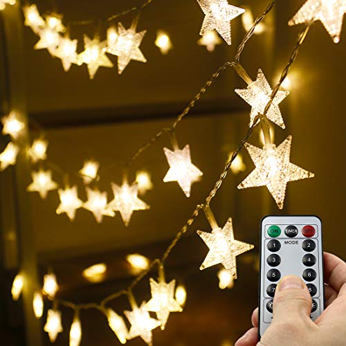 Xingpold Star String Lights,16.4 ft 50 LED 8 Modes Battery Operated String Lights with Remote & Timer Dimmable Twinkle Fairy Lights String for Kid Bedroom Tent Party Wedding Christmas Decor Warm White