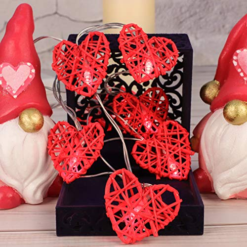 Rattan Red Heart String Lights for Valentine's Day, Love Themed Decorative,10 ft 20 LEDs Battery & USB Powered with Remote and Timer, for Wedding, Birthday Party, Kids Bedroom, Living Room