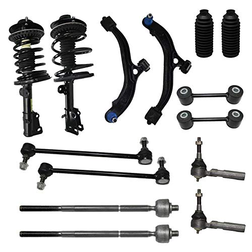 Detroit Axle - Front Struts + Lower Control Arm W/Ball Joint + Inner Outer Tie Rod W/Boots + Front & Rear Sway Bar Suspension Kit For 2001-2007 Town & Country Voyager Dodge Caravan - 14pc Set