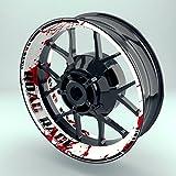 OneWheel Felgenrandaufkleber Motorrad 4er Komplett-Set (17 Zoll) - Felgenaufkleber Road Rage schwarz-weiß-rot (Design 1 - glänzend)