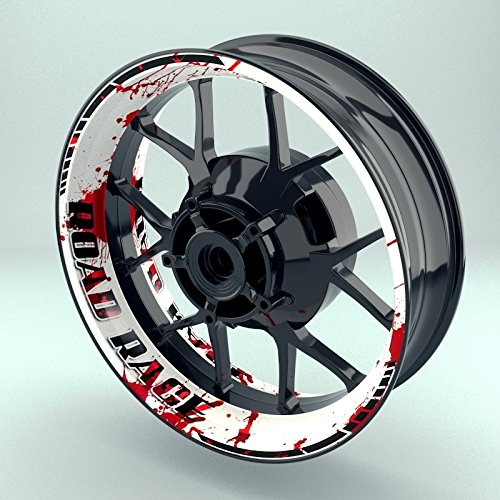 OneWheel Felgenrandaufkleber Motorrad 4er Komplett-Set (17 Zoll) - Felgenaufkleber Road Rage schwarz-weiß-rot (Design 1 - matt)