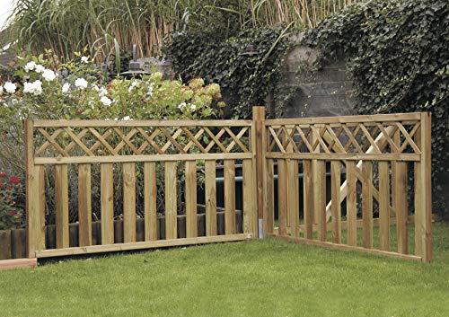 Steccato in Legno Impregnato 180 x 90 h. cm - Pannello Modello NAIROBI - Staccionata per Recinzione Giardino Aiuole