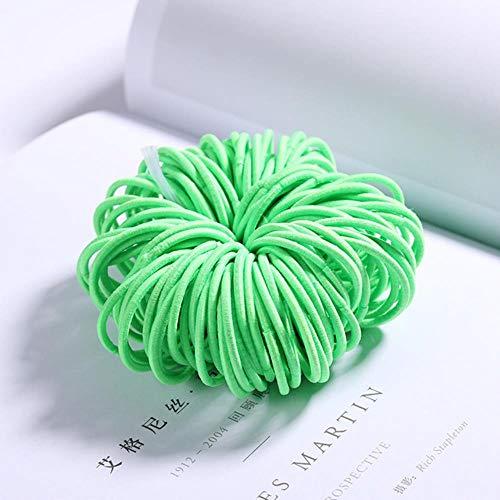 TKG 100PCS / Set Bonbons Couleur Nylon Bandeaux élastiques élastiques Bandeau Scrunchie Accessoires de Mode Cheveux,Vert Clair