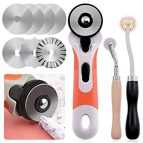Keadic 10 Pcs Rotary Cutters Quilting Set Include 2 Needlepoint Tracing Wheel, 45mm Rotary Cutter with 7 Replacement Blades,Roller Cutting Tool Kit for Cutting Quilting Sewing Leather and Crafts