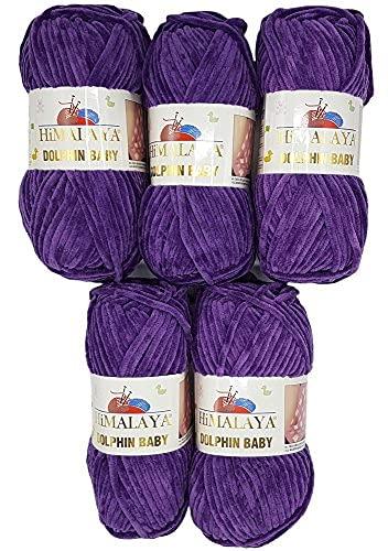 Himalaya Dolphin 80340 - Ovillo de lana para tejer (5 ovillos de 100 g, 500 g), color morado