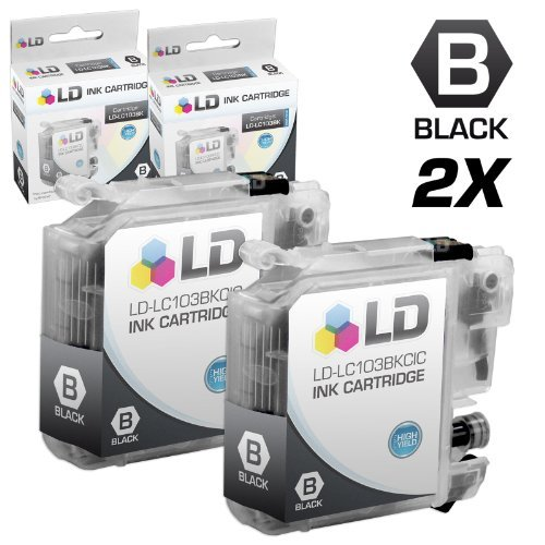 LD Compatible Ink Cartridge Replacement for Brother LC103BK High Yield (Black, 2-Pack)