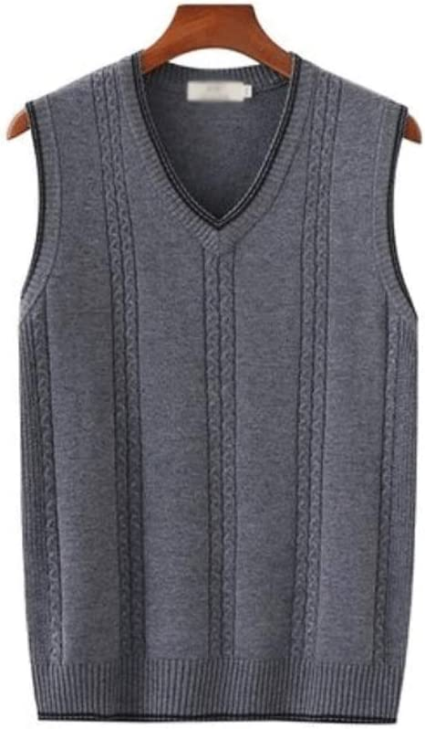 Men's Warm Vest, Wool Knit Vest, V-Neck Sleeveless Sweater Pullover Winter Thickening Casual Loose Version Ribbed Edges (Color : Medium Gray, Size : XXX-Large)
