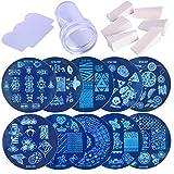 lulongyansf 1 Juego de uñas de Arte Imagen Que Estampa Plantillas del raspador Kit Stamper 10 de manicura Set con Placas Stamper Herramienta raspador y para DIY Nail Art