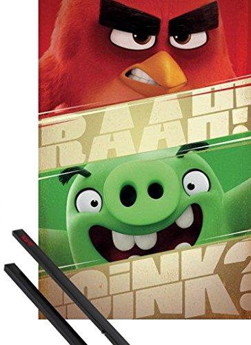 Angry Birds 1art1 Póster (91x61 cm) Pájaro Rojo Y Cerdo Verde Y 1 Lote De 2 Varillas Negras 1art1®
