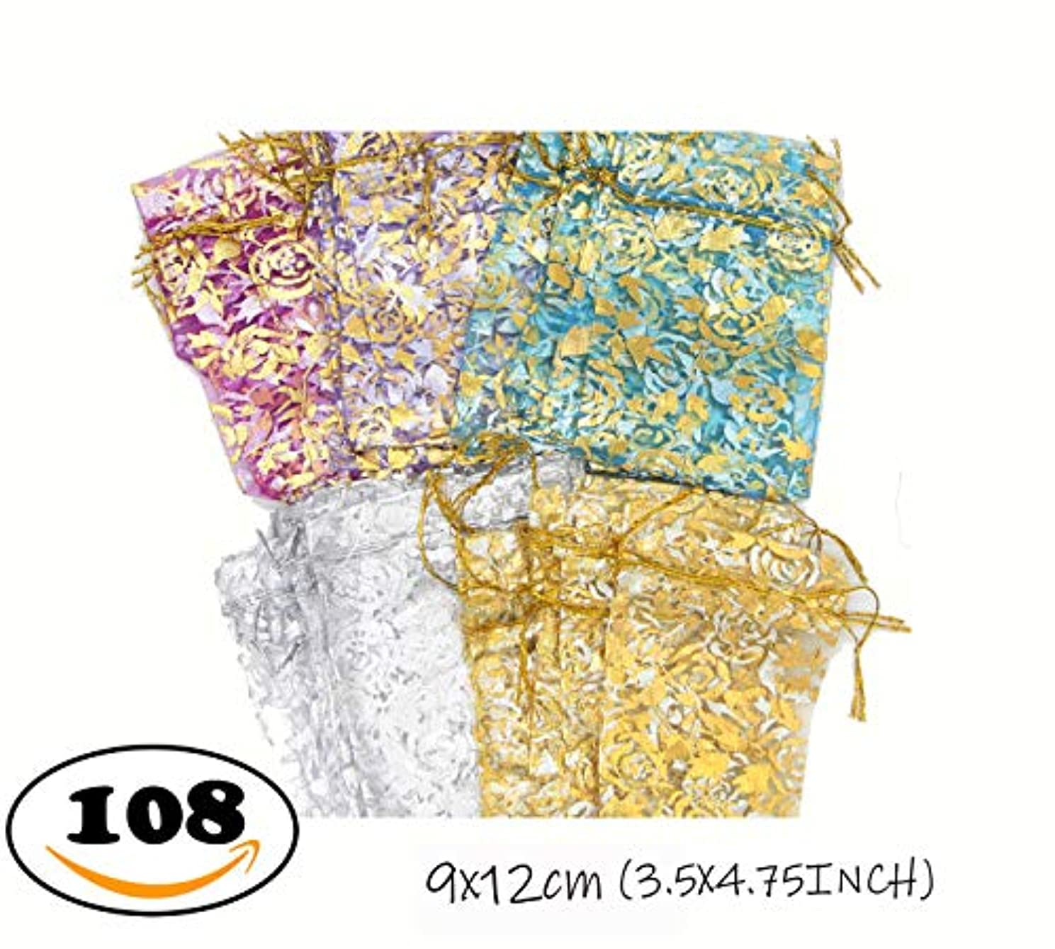 Charlotte 108PCS Organza Drawstring Gift Bags, Wedding Party Favor Present Bags Jewelry Pouches with Drawstring. (3.5X4.75 INCH, Mix Rose)/CB-001M