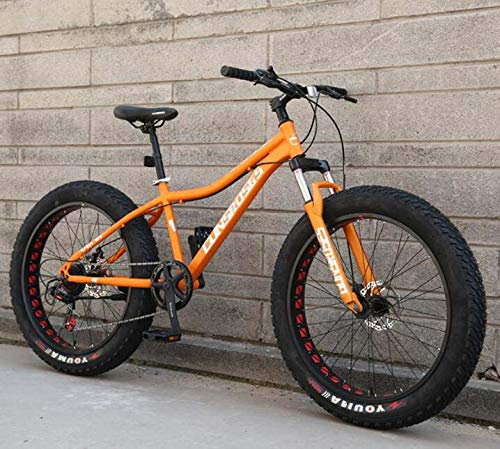 LJLYL 26' Bicicleta de Montaña Adulto Hardtail Cuadro y Ruedas de Acero al Carbono con Horquilla Delantera Freno Doble Disco, color naranja, tamaño 27 speed
