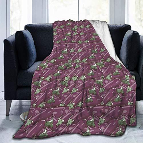 Manta mullida, inspirada en estilo retro de deliciosos berenjenas, producto de la naturaleza, alimento de cojín, ultra suave, manta para dormitorio, cama, TV, manta para cama de 152 x 127 cm