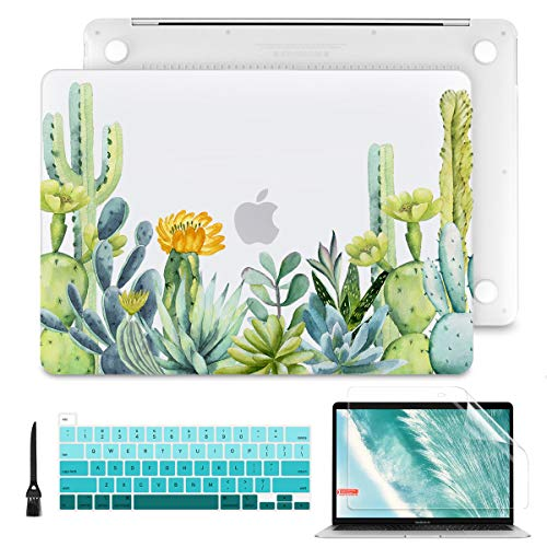 Batianda Laptop Case for MacBook Pro 13 2020 A2289 A2251 Model, PC Hard Shell Case with Keyboard Cover & Screen Protector for Newest Mac Pro13 inch Touch Bar, Cactus