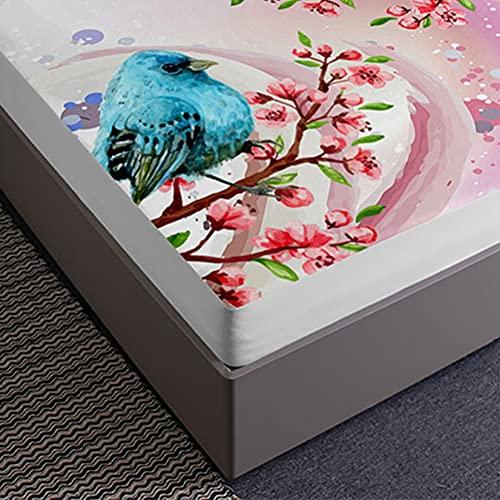 Oduo Sabana Bajera y Funda Almohada, 3D Pájaro Impresión Sábana Bajera Ajustable Profundo 30cm con 2 Fundas de Almohada para Cama Individual o Matrimonial (Flor de durazno Rosa,140x200x30cm)
